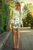 flower Zara skirt - vintage bag