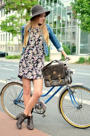 denim vintage jacket - H&M boots - floral TK Maxx dress - comma hat