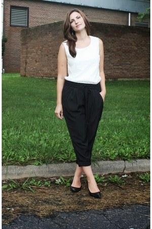 black Old Navy pants - white Walmart top - black Mossimo heels