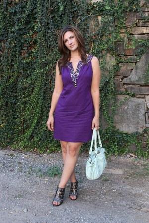 purple NY&CO dress - aquamarine charming charlies bag - silver Dolce Vita heels