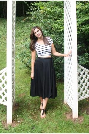 white absolute top - black vintage skirt - black Target sandals