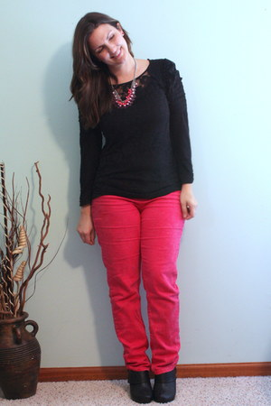 black Madden Girl boots - hot pink roses jeans - black Old Navy top