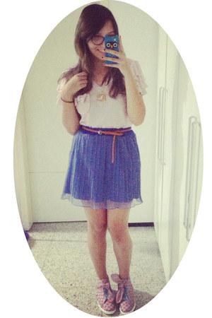 pink boots - light pink shirt - light purple skirt - cream necklace