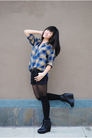 black Gap shorts - navy Forever 21 shirt - black sheer urban outffiters tights