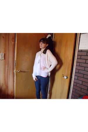 blue kohls jeans - white Forever 21 top - light pink Charlotte Russe cardigan
