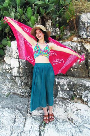 sheer vintage skirt - floppy new look hat - rainbow crochet Shop Jessthetics top