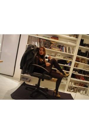 camel leopard print Aldo boots - black mesh no brand dress