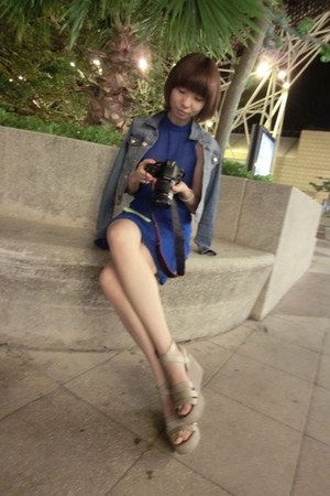H&M jacket - beige Zara shoes - blue Zara dress