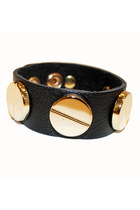 Black Genuine Leather & Gold Stud Bracelet