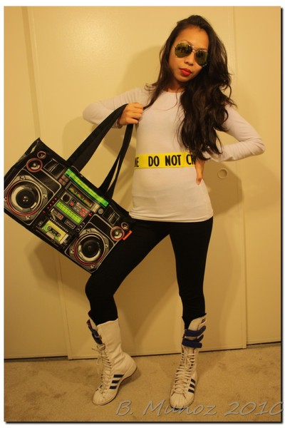 white Forever 21 shirt - white Adidas High Tops shoes - black Ghetto Blaster