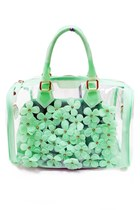 Mint Jelly Flower See Through Bag