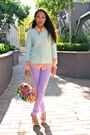 Aquamarine-knitted-zara-sweater-peach-button-down-forever-21-shirt