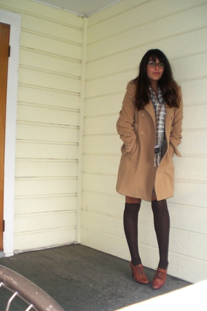 russian shoes - Guess coat - Victorie Mathieu scarf - Urban Outfitters stockings