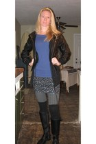 boots - socks - skirt - black knit vest vest - grey textured stockings