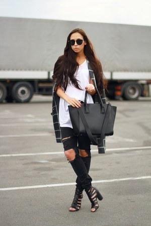 charcoal gray H&M jeans - black H&M bag