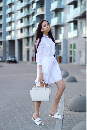 white Sundry dress - white Zara sandals