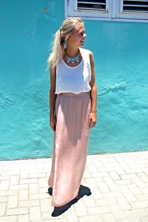 light pink silk maxi skirt