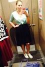Aquamarine-old-navy-cardigan-forest-green-skirt