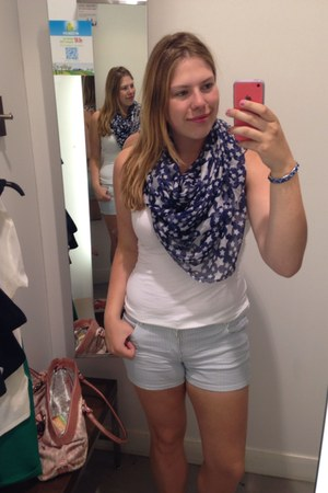 navy scarf - ivory shirt - sky blue H&M shorts