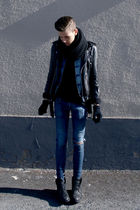 black vintage from my dad jacket - blue Divided jacket - black Din Sko boots
