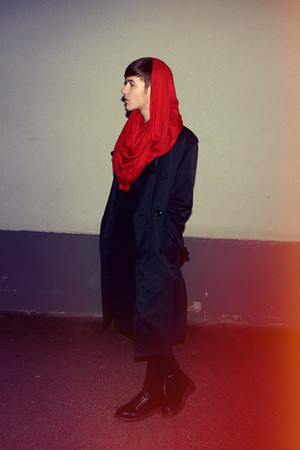 red H&amp;M scarf - black second hand coat - black Cheap Monday jeans - black Dr Mar