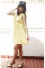 Yellow-zara-dress-white-accessories-beige-charles-keith-shoes