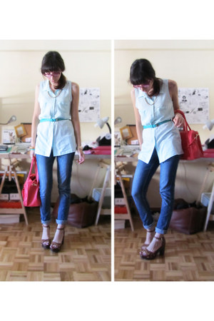 light blue H&M shirt - navy H&M jeans - turquoise blue BLANCO belt