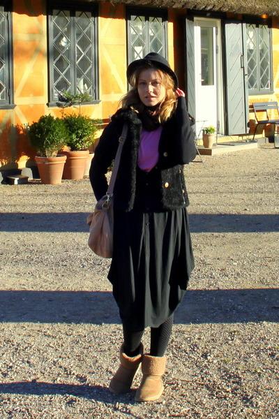 fur vintage coat - Ugg boots - Prag dress - hat - H&M bag - Vero Moda blouse