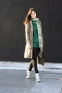 Dark-green-elizabeth-james-dress-olive-green-timeless-trench-gryphon-coat-
