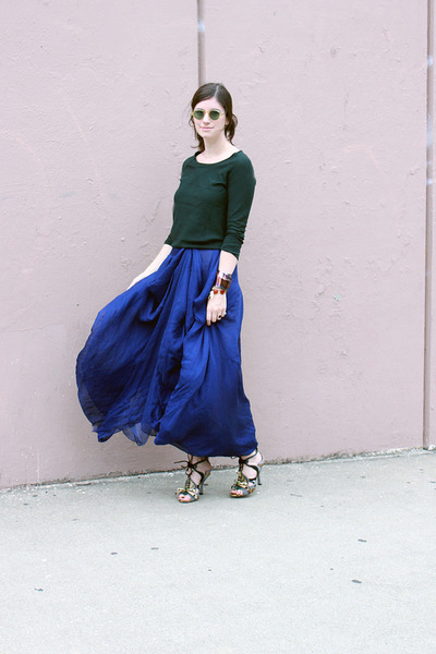armani skirt - Jcrew sweater - vintage sunglasses - Miu Miu sandals
