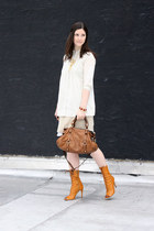 burnt orange Prada boots - beige iisli dress - brown Miu Miu bag - ivory Uniqlo