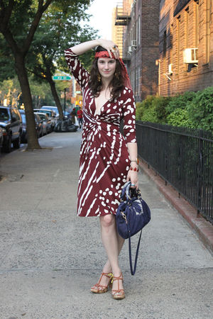 brown issa dress - pink Nina Ricci scarf - brown Marni shoes - blue Miu Miu purs