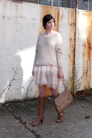 H&M sweater - H&M dress - H&M tights - loeffler randall boots - Marni purse - ab
