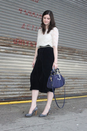 silver Forever 21 shirt - blue Comme des Garcons skirt - blue Marni shoes - blue