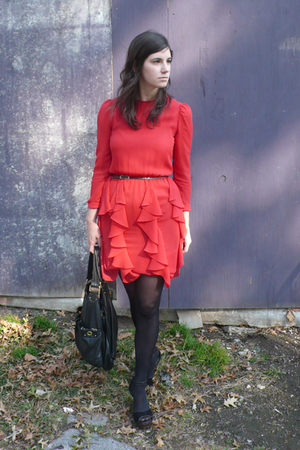 morton myles dress - Black Halo belt - Prada shoes - Marc by Marc Jacobs purse