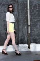 white Jcrew blouse - yellow Urban Outfitters shorts - black Prada shoes - black