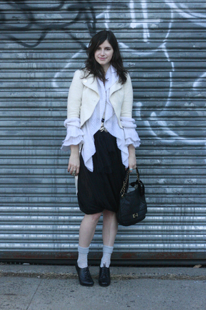 black seychelles shoes - black lanvin purse - white La Perla cardigan - white Ta