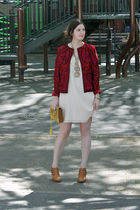 red Oscar de la Renta jacket - white Gap dress - brown Chloe shoes - yellow Zac