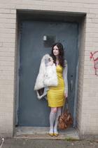 vintage vest - BCBG sweater - Helmut Lang dress - HUE socks - loeffler randall s
