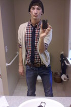 beige Dockers cardigan - blue J Crew hat - red J Crew shirt - brown J Crew belt