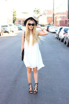 white JustFab dress - black JustFab heels
