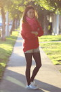Red-h-m-sweater-bubble-gum-fringe-publik-scarf