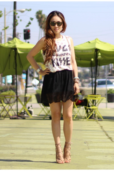 District collection skirt - floral tank Motel Rocks top - shoemint heels