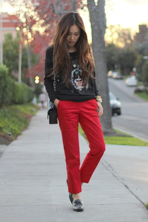 red Zara pants - black PUBLIK top - black Aldo loafers
