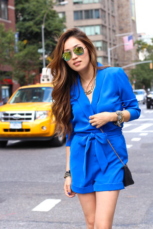 blue ted baker romper - shoemint heels