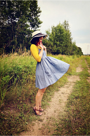 sky blue H&M dress - beige hat - mustard modcloth cardigan