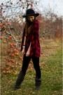 Gray-suede-nine-west-boots-black-wide-brim-h-m-hat