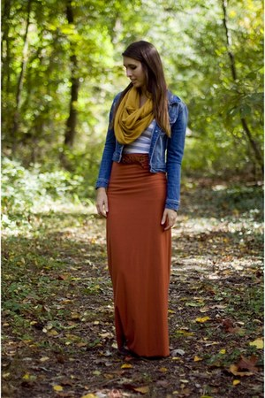burnt orange maxi skirt DIY skirt - blue denim jacket nectar clothing jacket