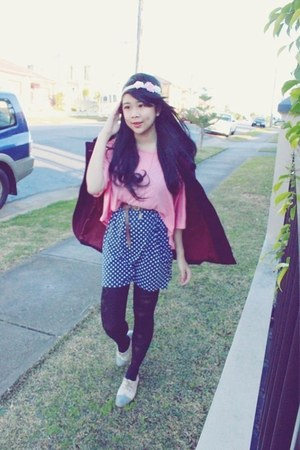 maroon Urban Outfitters jacket - blue polkadot asos shorts - pink Forever 21 top