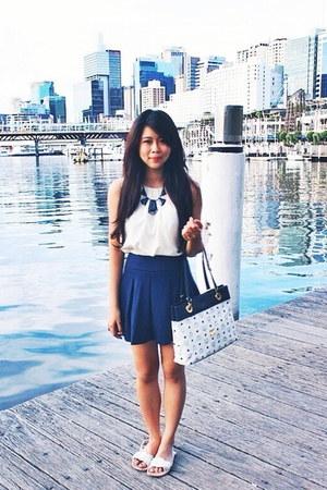 navy Forever 21 skirt - MCM bag - ivory Zara tie